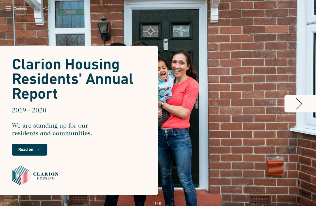 Clarion Housing Residents' Annual report 2019 - 2020 front cover